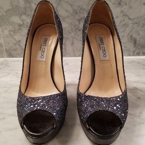 Jimmy Choo Navy Glitter Peep Toe Heels, Platform